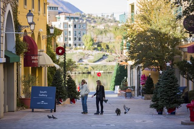 People walk at MonteLago Village on Tuesday, Dec. 20, 2016. Lake Las Vegas' retail section is listed for sale at $10 million. Jeff Scheid/Las Vegas Review-Journal Follow @jeffscheid