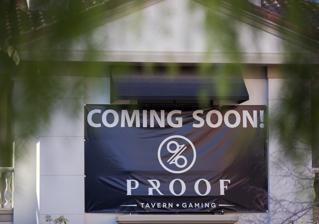 I sign for a future Nevada style tavern hangs Tuesday, Dec. 20, 2016, at MonteLago Village. Lake Las Vegas' retail section is listed for sale at $10 million. Jeff Scheid/Las Vegas Review-Journal F ...