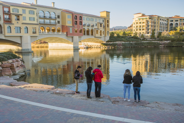 People take in the view of Lake Las Vegas on Tuesday, Dec. 20, 2016. Lake Las Vegas' retail section is listed for sale at $10 million. Jeff Scheid/Las Vegas Review-Journal Follow @jeffscheid