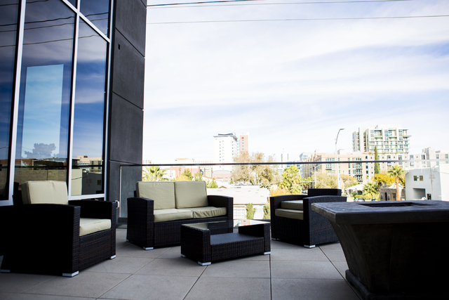 The patio in the newly opened Eclipse Theaters has a fire place and comfortable seating, 814 S. Third Street, Downtown Las Vegas, Wednesday, Dec. 7, 2016, Las Vegas. (Elizabeth Page Brumley/Las Ve ...