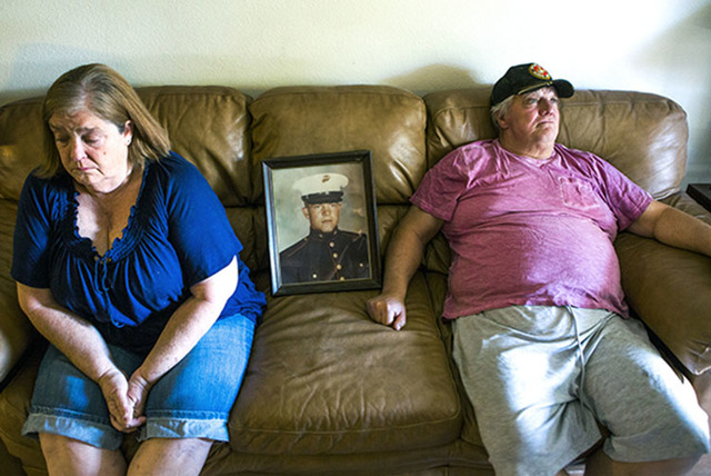 Linda Furrow, left, and her husband former Marine Stanley Furrow sit in the family's home in Las Vegas, Thursday, Aug. 11, 2016. (Jeff Scheid/Las Vegas Review-Journal Follow @jeffscheid)