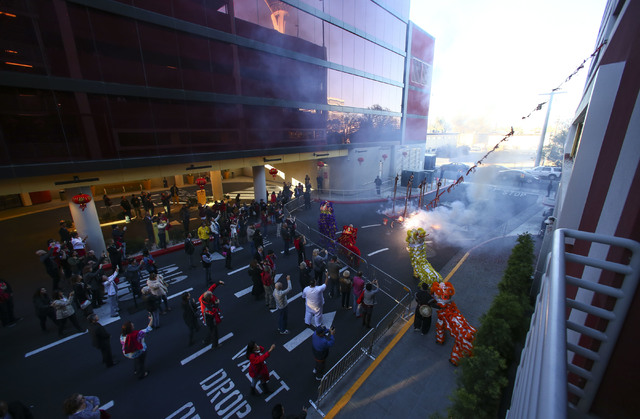 Members of the Lohan School of Shaolin perform during the grand opening of the Lucky Dragon hotel-casino in Las Vegas on Saturday, Dec. 3, 2016. (Chase Stevens/Las Vegas Review-Journal) @csstevens ...