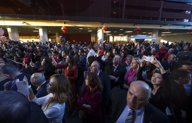 People attend the grand opening of the Lucky Dragon hotel-casino in Las Vegas on Saturday, Dec. 3, 2016. (Chase Stevens/Las Vegas Review-Journal) @csstevensphoto