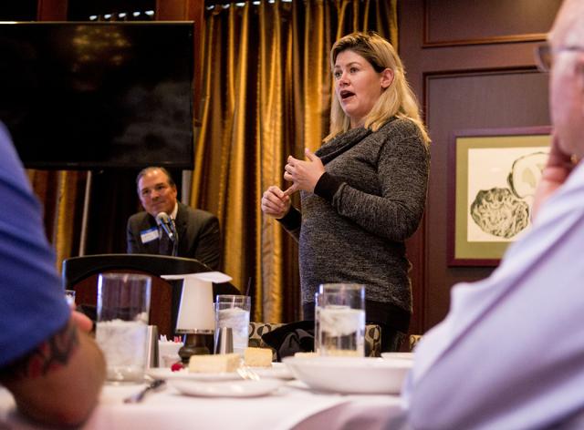 Las Vegas Senator Patricia Farley discusses what is being done in Senate to prepare for the coming legal recreational marijuana some time in 2017, McCormick & Schmicks restaurant, Las Vegas, T ...