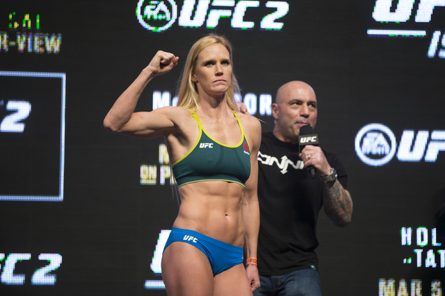 UFC fighter Holly Holm poses during her weigh-in for UFC 196 at the MGM Grand Garden Arena on Friday, March 4, 2016, in Las Vegas. (Erik Verduzco/Las Vegas Review-Journal) Follow @Erik_Verduzco