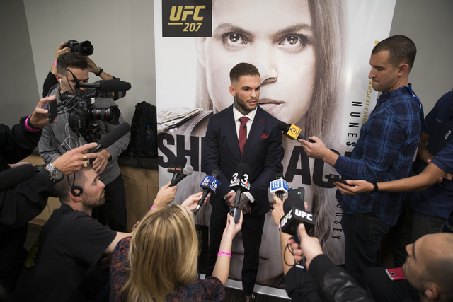 Cody Garbrandt is interviewed during the UFC 207 media day  at T-Mobile Arena on Wednesday, Dec. 28, 2016, in Las Vegas. Erik Verduzco/Las Vegas Review-Journal Follow @Erik_Verduzco