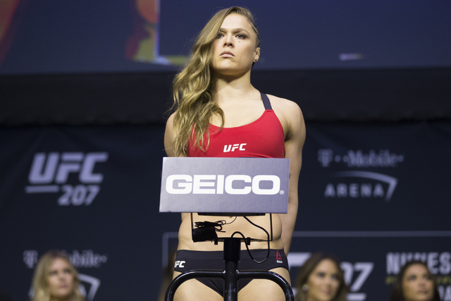 Ronda Rousey during the ceremonial UFC 207 weigh-in at T-Mobile Arena on Thursday, Dec. 29, 2016, in Las Vegas. Rousey will fight Amanda Nunes Saturday for the bantamweight title. Erik Verduzco/La ...