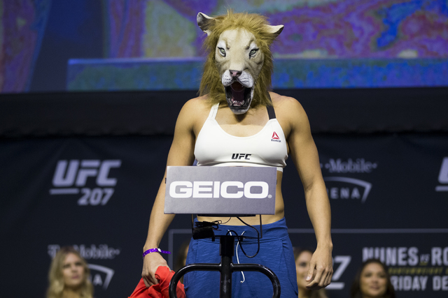 Amanda Nunes during the ceremonial UFC 207 weigh-in at T-Mobile Arena on Thursday, Dec. 29, 2016, in Las Vegas. Erik Verduzco/Las Vegas Review-Journal Follow @Erik_Verduzco