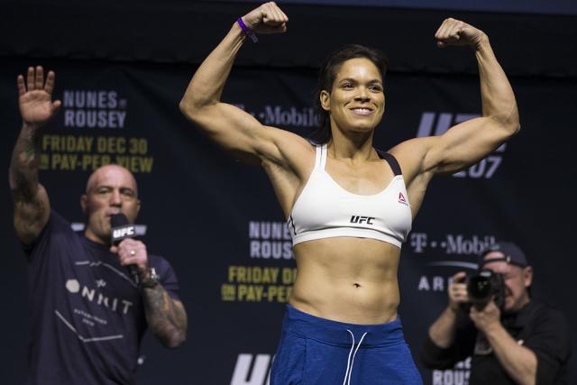 Amanda Nunes during the ceremonial UFC 207 weigh-in at T-Mobile Arena on Thursday, Dec. 29, 2016, in Las Vegas. Nunes will fight Ronda Rousey Saturday for the bantamweight title. Erik Verduzco/Las ...