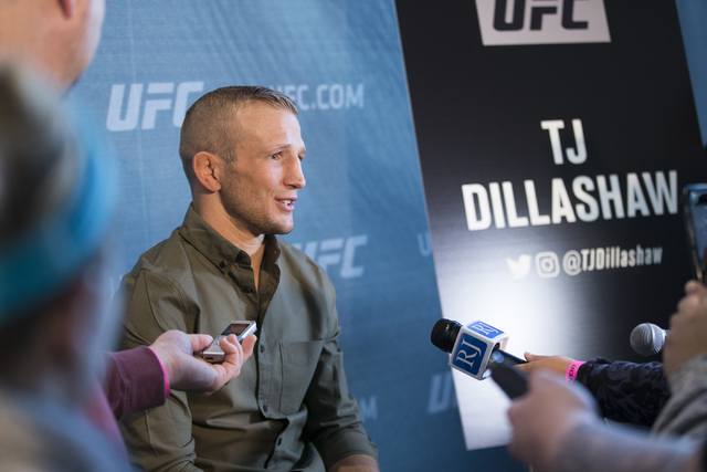 T.J. Dillashaw is interviewed during the UFC 207 media day at T-Mobile arena on Wednesday, Dec. 28, 2016, in Las Vegas. Erik Verduzco/Las Vegas Review-Journal Follow @Erik_Verduzco