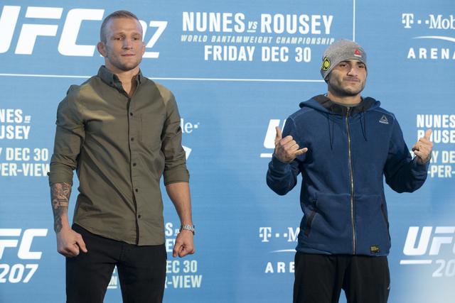 T.J. Dillashaw, left, and John Lineker pose during the UFC 207 media day at T-Mobile arena on Wednesday, Dec. 28, 2016, in Las Vegas. (Erik Verduzco/Las Vegas Review-Journal) Follow @Erik_Verduzco