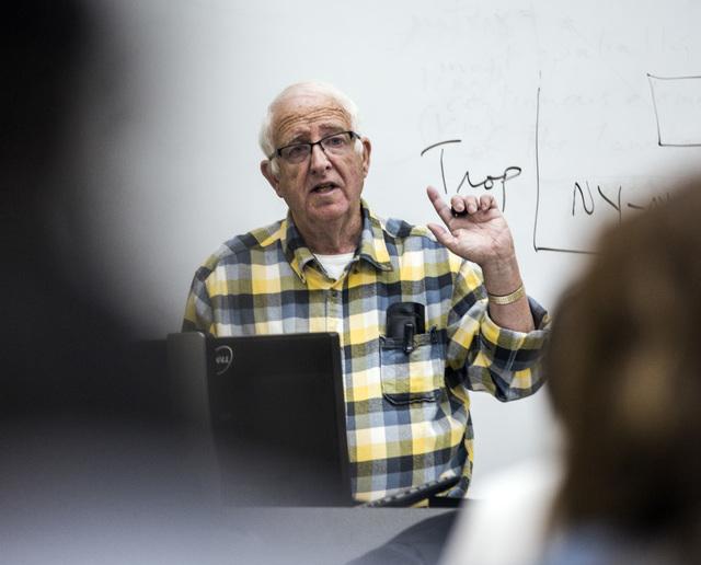 Eugene Moehring, a professor of history at UNLV, teaches  Nevada history class on Wednesday, Nov. 30, 2016. Moehring is retiring on Dec. 31. (Jeff Scheid/Las Vegas Review-Journal) @jlscheid