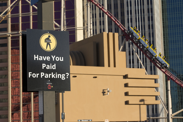 A sign at the New York-New York hotel-casino parking lot on Wednesday, Dec. 28, 2016, in Las Vegas. Erik Verduzco/Las Vegas Review-Journal Follow @Erik_Verduzco