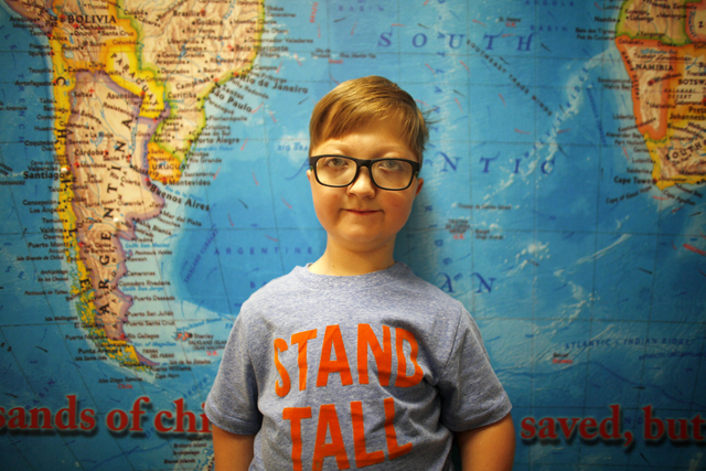 Levi Krystosek, 10, is pictured at the offices of Miracle Flights on Monday, Dec. 19, 2016, in Las Vegas. Levi took the 100,000th flight provided by Miracle Flights. (Rachel Aston/Las Vegas Review ...