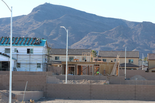 Housing development under construction on Mission Drive just west of College Drive in Henderson on Tuesday, Dec. 20, 2016. (Bizuayehu Tesfaye/Las Vegas Review-Journal)@bizutesfaye