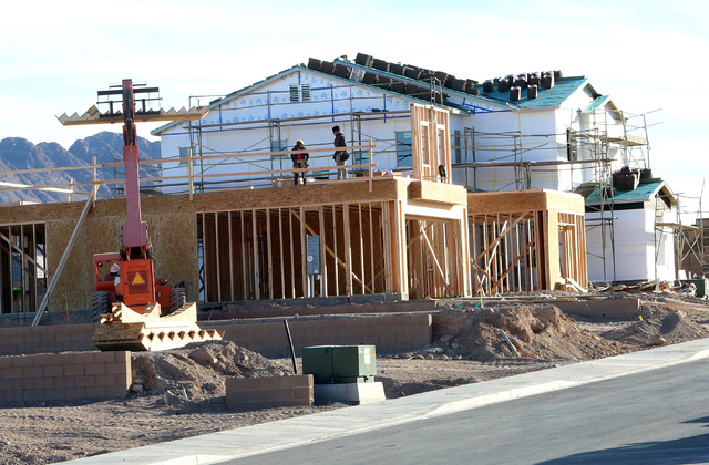Housing development under construction on Mission Drive just west of College Drive in Henderson on Tuesday, Dec. 20, 2016. (Bizuayehu Tesfaye/Las Vegas Review-Journal)@bizutesfaye  Mission Drive a ...