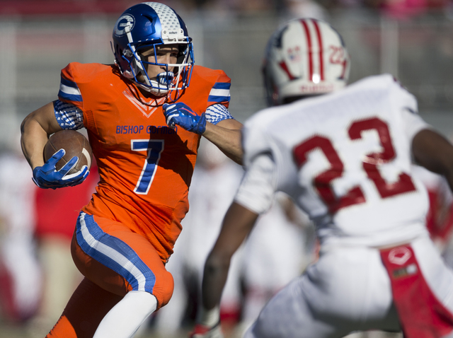 Bishop Gorman's Biaggio Walsh (7) runs the ball for a touchdown against Liberty in the Class 4A state football championship game at Sam Boyd Stadium on Saturday, Dec. 3, 2016, in Las Vegas. Bishop ...