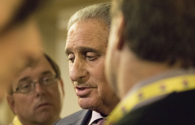 Atlanta Falcons owner Arthur Blank updates the media on some of the ongoing discussions in the NFL owners meeting in Irving, Texas, on Dec. 14, 2016. (Heidi Fang/Las Vegas Review-Journal) @HeidiFang