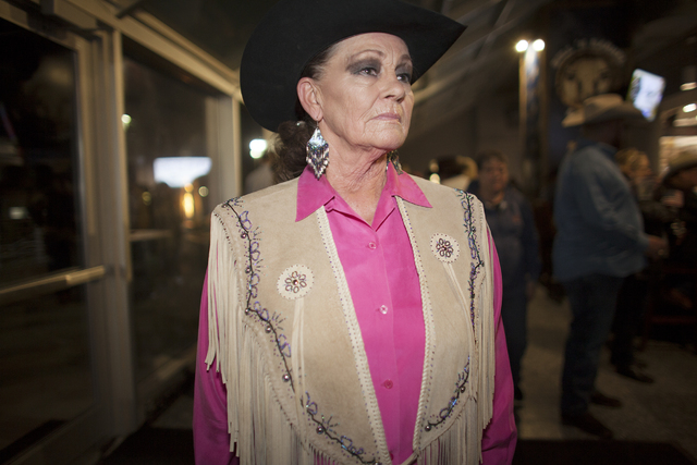Mary Novak shows off her leather pancho at the National Finals Rodeo at Thomas & Mack Center on Sunday, Dec. 4, 2016, in Las Vegas. (Rachel Aston/Las Vegas Review-Journal) @rookie__rae