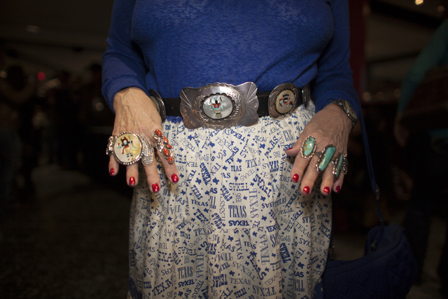 Sandy Bush shows off her rings and belt at the National Finals Rodeo at Thomas & Mack Center on Sunday, Dec. 4, 2016, in Las Vegas. (Rachel Aston/Las Vegas Review-Journal) @rookie__rae