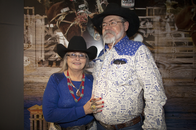Sandy and Charlie Bush in coordinating outfits at the National Finals Rodeo at Thomas & Mack Center on Sunday, Dec. 4, 2016, in Las Vegas. (Rachel Aston/Las Vegas Review-Journal) @rookie__rae
