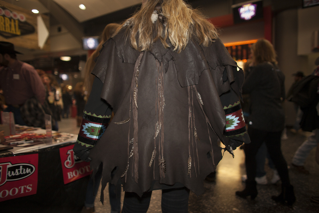 Shelly Weppler shows off her leather jacket at the National Finals Rodeo at Thomas & Mack Center on Sunday, Dec. 4, 2016, in Las Vegas. (Rachel Aston/Las Vegas Review-Journal) @rookie__rae