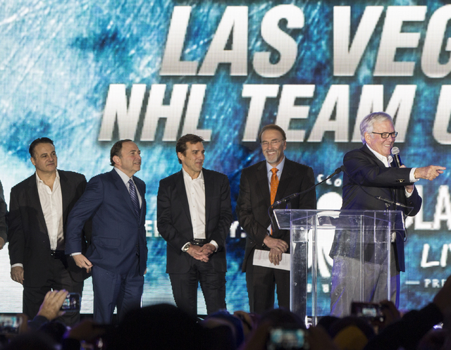 Golden Knights owner Bill Foley, right, speaks during a ceremony to unveil the Las Vegas' NHL expansion franchise's official team name, logos and colors on Tuesday, Nov. 22, 2016, at Toshiba Plaza ...