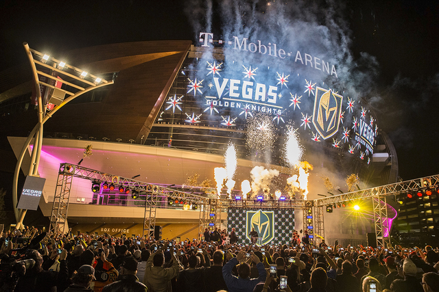 Fireworks light up the sky during a ceremony to unveil the Las Vegas' NHL expansion franchise's official team name, the Golden Knights, on Tuesday, Nov. 22, 2016, at Toshiba Plaza, in Las Vegas. ( ...