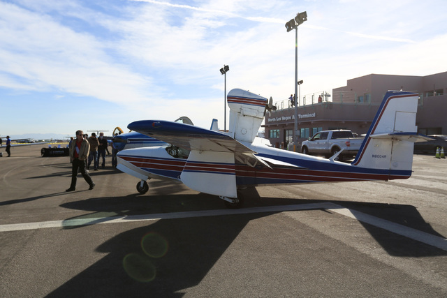 A seaplane sits on display during an open house at the North Las Vegas Airport on Saturday, Dec. 10, 2016. Brett Le Blanc/Las Vegas Review-Journal Follow @bleblancphoto