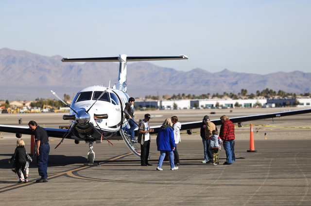 A Pilatus PC-12 belonging to Steelman Aviation Charter is shown of during an open house at the North Las Vegas Airport on Saturday, Dec. 10, 2016. Brett Le Blanc/Las Vegas Review-Journal Follow @b ...