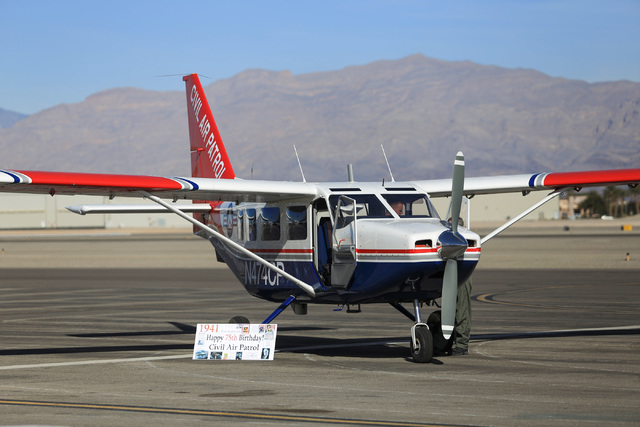 The Civil Air Patrol shows off an aircraft at the North Las Vegas Airport on Saturday, Dec. 10, 2016. Brett Le Blanc/Las Vegas Review-Journal Follow @bleblancphoto