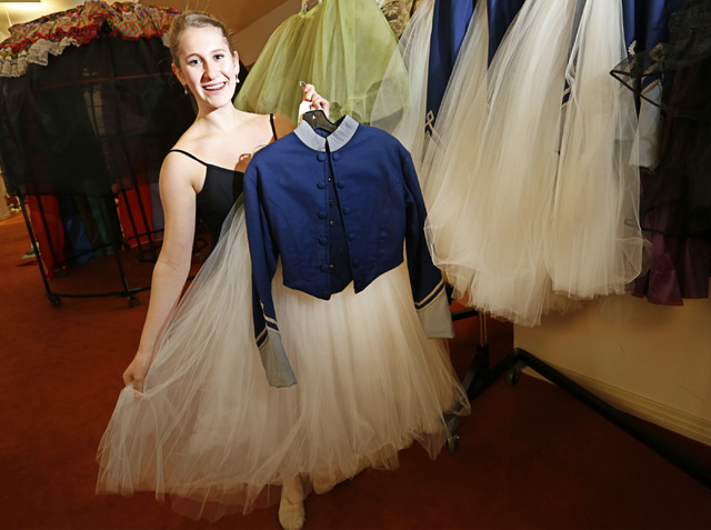 Natalie Browne, the Academy of Nevada Ballet Theatre student, shows a Soldier Doll costume at Nevada Ballet Theatre in Las Vegas, Wednesday, Nov. 30, 2016. Browne will perform in the role of Soldi ...