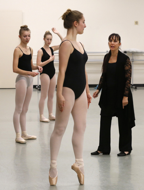 "Ballet Mistress Tara Foy, from right, talks with Natalie Browne, the Academy of Nevada Ballet Theatre student, during a ""Nutcracker"" rehearsal at Nevada Ballet Theatre in Las Vegas, Wednesday, Nov ..."