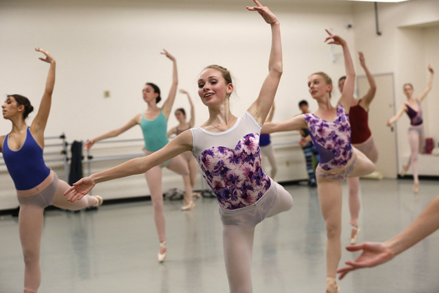 Nevada Ballet Theatre Ballet dancers  including Emily Lovdahl, center, perform during a Nutcracker rehearsal at NBT in Las Vegas, Wednesday, Nov. 30, 2016. (Chitose Suzuki/Las Vegas Review-Journal ...