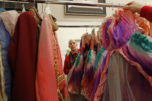 Nevada Ballet Theatre Ballet wardrobe manager Chris Larson is reflected in a mirror while showing some costumes at NBT in Las Vegas, Wednesday, Nov. 30, 2016. (Chitose Suzuki/Las Vegas Review-Jour ...