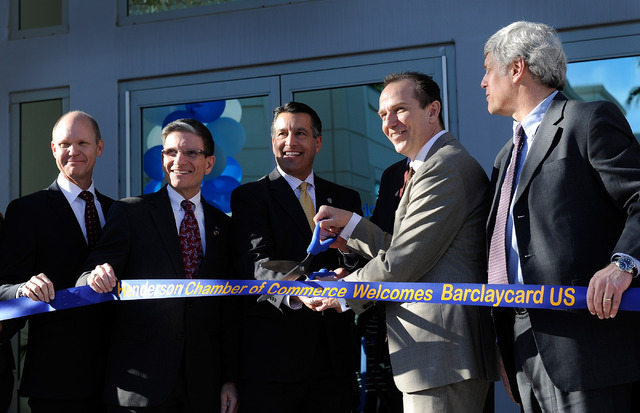From left, CEO and president of the Las Vegas Global Economic Alliance Tom Skancke, U.S. Rep. Joe Heck, Gov. Brian Sandoval, Barclaycard COO Patrick Wright and Barclays Bank general council Larry  ...