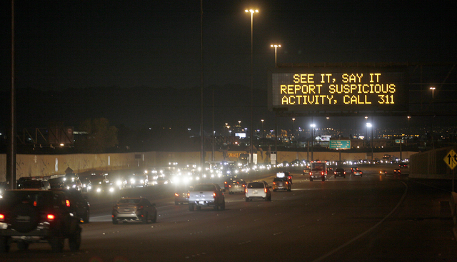"A sign saying ""See it, say it"" on northbound U.S. Highway 95 near the Rancho Drive exit on Thursday, Dec. 29, 2016, in Las Vegas. (Rachel Aston/Las Vegas Review-Journal) @rookie__rae"