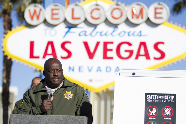 Las Vegas Metropolitan Police Department Assistant Sheriff Tim Kelly speaks during a press conference on the 2017 New Year's Celebrations security plans on the Las Vegas Strip and downtown& ...