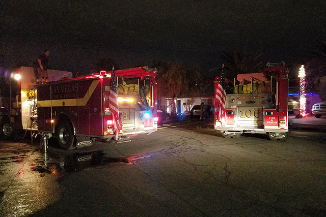 A house fire north of downtown early Wednesday morning displaced six adults. (Mike Shoro/Las Vegas Review-Journal)