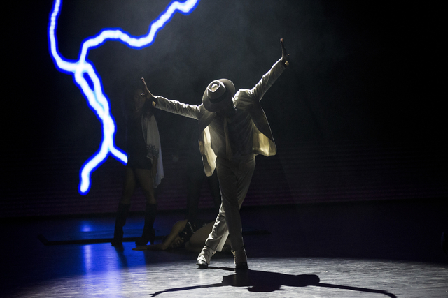 """The first show at the Parisian, """"Thriller Live,"""" performs during a press conference at the eve of the grand opening of the Parisian on Tuesday, Sept. 13, 2016, in Macau. (Erik Verduzco/Las Vegas R ..."""