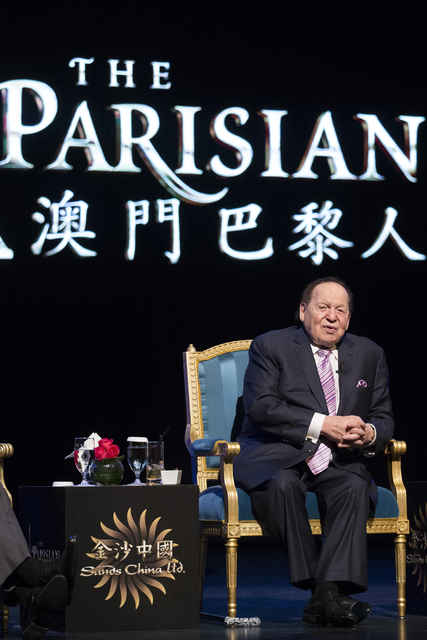 Las Vegas Sands Corp. Chairman and CEO Sheldon Adelson speaks during a press conference before the grand opening of his new resort, Parisian, on Tuesday, Sept. 13, 2016, in Macau. (Erik Verduzco/L ...