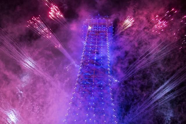 Fireworks light up the sky during the grand opening ceremony for Sands China Ltd. new resort, Parisian, on Tuesday, Sept. 13, 2016, in Macau. Erik Verduzco/Las Vegas Review-Journal Follow @Erik_Ve ...