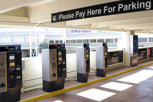 Automatic parking machines at New York-New York hotel-casino's parking garage are shown on Tuesday, May 31, 2016. MGM Resorts International plans to start charging $10 a day for parking on June 6  ...