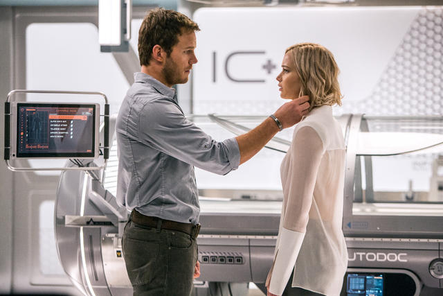 "In the Infirmary, Jim (Chris Pratt) and Aurora (Jennifer Lawrence) realize they have limited options in Columbia Pictures' ""Passengers."" (Columbia Pictures)"