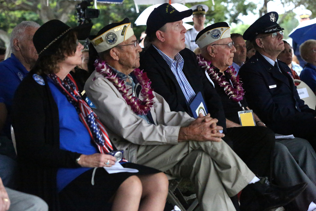 Linda Miller of the Nevada DAR, left, Pearl Harbor Veteran Wetzel Sanders, John Galloway, founder of The Tribute Flight Organization, USS Nevada Pearl Harbor Survivor Geb Galle and Air Force Brig. ...