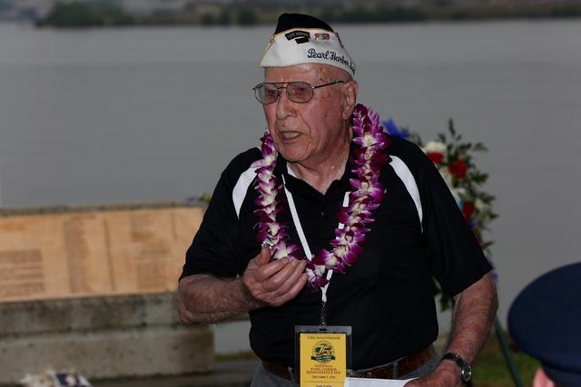 On Thursday morning, December 8, 2016, USS Nevada Pearl Harbor Survivor, Geb Galle of Stevenson Washington, tells a small crowd at Hospital Point how the USS Nevada got underway on the morning of  ...