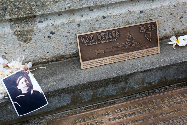 A metal plaque, which was delivered in a custom built curly cherrywood box accompanied by a handwritten letter from Nevada Gov. Brian Sandoval, rests where it will be permanently installed on the  ...