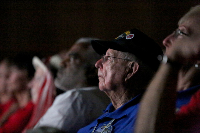 USS Nevada veteran Ansel Tupper watches a movie recounting the Dec. 7, 1941 surprise attack on Pearl Harbor at the Pearl Harbor Visitor Center on Monday, December 5, 2016. (Michael Quine/Las Vegas ...