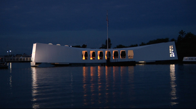In the predawn hours of Monday December 5, 2016, the USS Arizona Memorial sits peacefully over the 1,177 men who died onboard during the December 7th surprise attack on Pearl Harbor. (Michael Quin ...