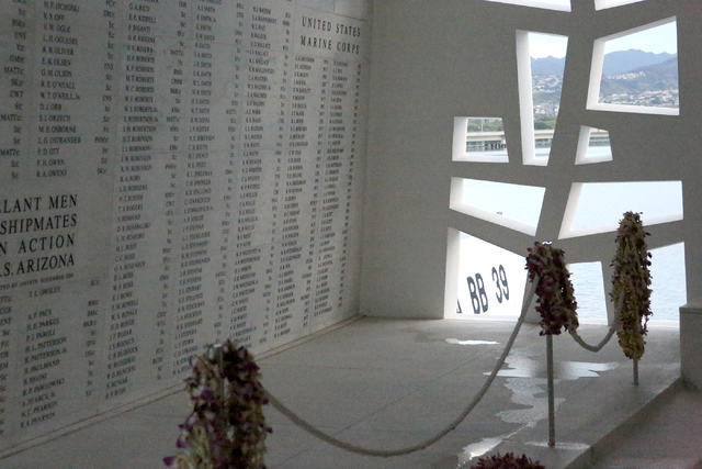 The USS Arizona's hull numbers, BB 39, seen from inside the USS Arizona Memorial at Pearl Harbor on Monday, December 5, 2016, where are written the names of the 1,177 men killed during the  ...